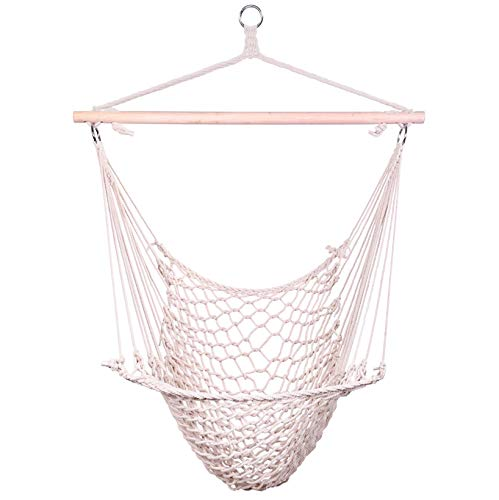 SPARSIFOLIA Distinctive Hammock Chair; Cotton Hanging Rope Air Sky Chair Swing; Superior Comfort & Durability; for Indoor & Outdoor Use; Beige