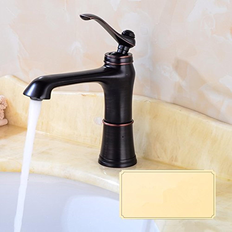 Bijjaladeva Wasserhahn Bad Wasserfall Mischbatterie Waschbecken Waschtisch Armatur für BadezimmerDas Kupfer Waschbecken antiken Kalte und Warme Badewanne Waschbecken Schwarz