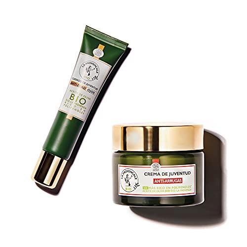 La Provençale BIO, Pack Crema Facial Antiarrugas con Aceite de Oliva BIO, 50 ml + Contorno de ojos Anti-Edad con Aceite de oliva BIO,15 ml
