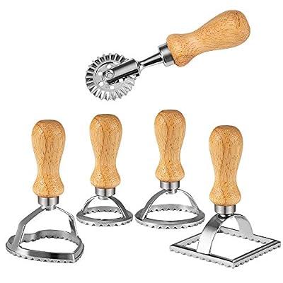 Chrider Ravioli Stamp Set (Set of 5), Ravioli Maker Cutter with Wooden Handle?for Ravioli, Pasta, Dumplings Lasagna, Pierogi, Leading Dough Cutter and Press Stamps