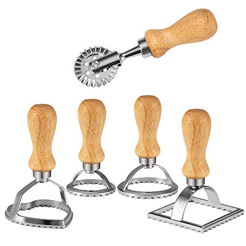 Chrider Ravioli Stamp Set (Set of 5), Ravioli Maker Cutter with Wooden Handle–for Ravioli, Pasta, Dumplings Lasagna, Pierogi, Leading Dough Cutter and Press Stamps
