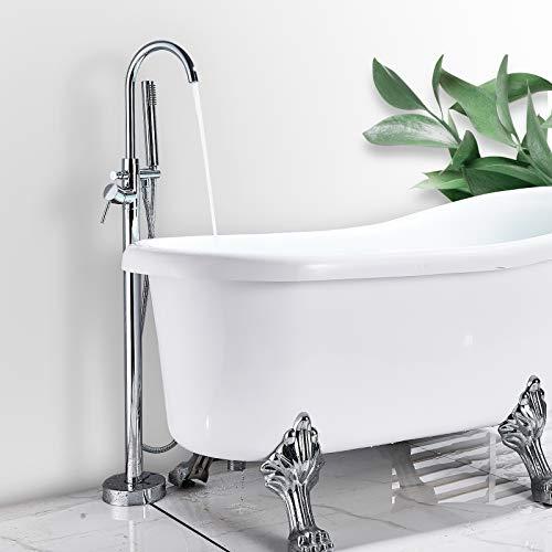 Rozin Freistehende Badewannenarmatur Chrom Wasserhahn Einhandmischer mit Handspritzgerät Badewanne Wasserhahn Freistehend Standarmatur Badewannenarmatur