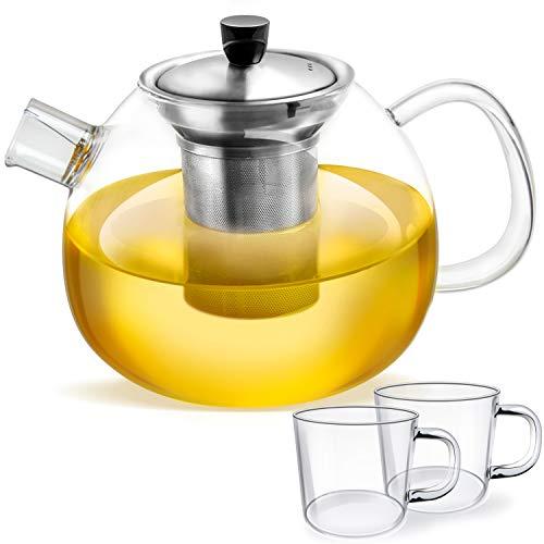 Tetera de vidrio - Capacidad 1500 ml - Filtro de acero inoxidable extraíble - Vidrio de borosilicato resistente al calor -PLUS: 2x tazas de té de cristal