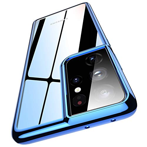 Meifigno Compatible with Samsung S21 Ultra Case, Soft Clear S21 Ultra Case 6.8 inch, [Anti-Yellow] Ultra Thin & Slim Fit Flexible TPU Case, Designed for Samsung Galaxy S21 Ultra 5G Case (Crystal Blue)