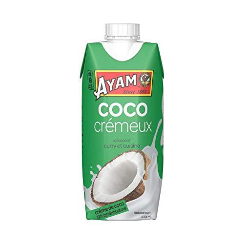 AYAM Crème de Coco   100% Ingrédients Naturels   99% de coco   Boostée en eau de coco   Haute Qualité   Lait Végétal   Sans Lactose   Sans Gluten   Pack pratique - 330ml