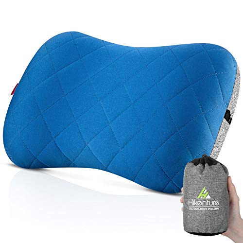 Hikenture Camping Pillow with Removable Cover - Ultralight Inflatable Pillow for Neck Lumber Support - Upgrade Backpacking Pillow - Washable Travel Air Pillows for Camping, Hiking, Backpacking (Blue)