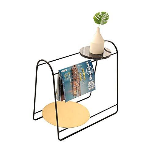 JCNFA BIJZETTAFEL Sofa Bijzettafel/Metal Tijdschrift Rek Natuurlijk Marmer/Houten Tafelblad, Bijzettafeltje, Unieke Vorm (Color : Black, Size : 60 * 55cm)