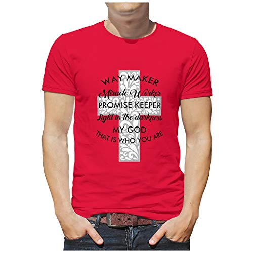 Men's Way Ma-ker Mira-cle Worker Promise Keeper Light In My God Who Is Who You Are Cotton T-Shirt Funny Skin Friendly - [rtag1] T-Shirt for Travel - Red - XXL