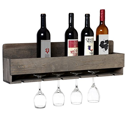 MyGift Barnwood Gray Wall Mounted Wine Bottle and 6 Stem Glasses Display Rack