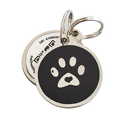 PetDwelling 2D Black Paw QR Code Pet ID Tag Links to Online Profile/Emergency Contact/Medical Info/Google Map Location Stamp(Black 2D)