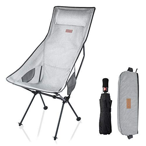 MECHHRE アウトドアチェア ハイバックチェア キャンプ 椅子 両側収納袋付き 超軽量 コンパクト ローチェア 組立簡単 収納バッグ付き お釣り 登山 携帯便利 折りたたみ椅子