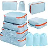 DIMJ 11 Set Packing Cubes, Travel Luggage Packing Organizers Lightweight Travel Cloth Storage Bag with Bra Underwear Cube Cosmetics Bag and Shoe Pouch