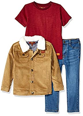 7 For All Mankind Baby Boys Jacket, Short Sleeve Tee and Jean Set, Khaki, 18M