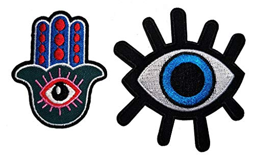 PP Patch Set Green Buddha Hand Eye Eyeball Tattoo Wicca Occult Goth Punk Retro Applique Iron-on Patch Cartoon Applique for Backpacks Clothes Jackets T-Shirt Jeans Skirt Vests Scarf Hat