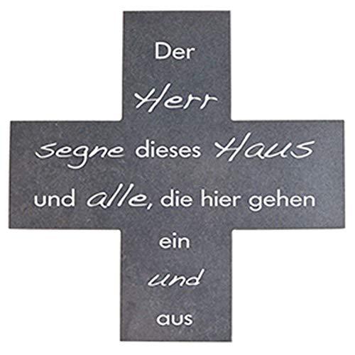 Fritz Cox® Steinkreuz-Haussegen in Kreuzform 'er Herr segne Dieses Haus & alle, die Hier gehen EIN & aus'
