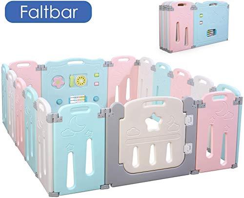 Bamny Laufgitter Laufstall Baby Absperrgitter Krabbelgitter Schutzgitter für Kinder aus Kunststoff mit Tür - für Kinder von 10 Monaten bis 6 Jahren (14 Paneele + 2 Tür,Mond-Stil)