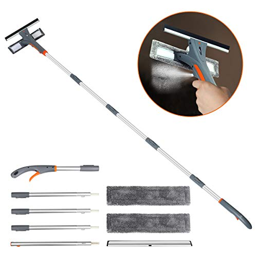 Baban Windows Squeegee Cleaner with Spary, 3 in 1 Window Spray Wiper with Extension Pole, 76'' Window Wiper Squeegee, Windows Squeegee Cleaning Tool for Car Indoor Outdoor High Windows