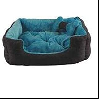 Slatters be Royal Store Rectangular Shape Reversable Sky Blue Gray Ultra Soft Ethnic Velvet Dog Bed for Pet/Cat