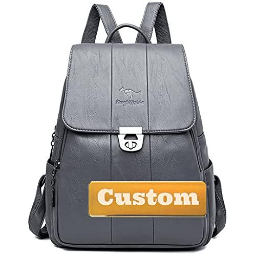 Claiyi Scuola personalizzata del nome personalizzata per la borsa a tracolla delle donne della borsa della borsa dello zaino Vintage del vegano Vintage (Color : Grey, Size : One size)