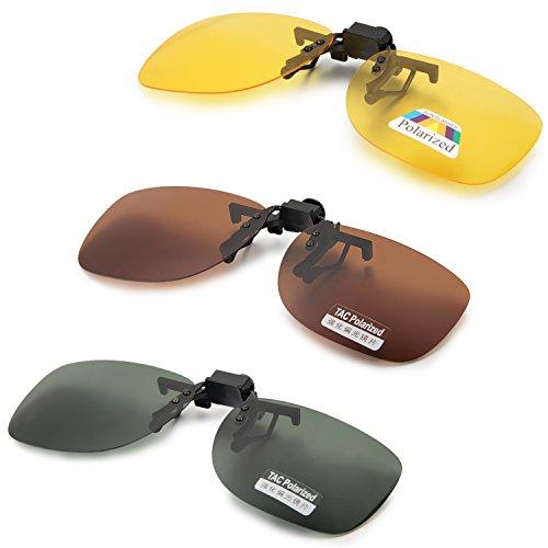Aroncent Große Sonnenbrillen-Clip für Brillenträger, Braun Gelb Grün