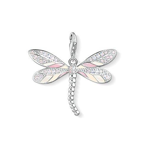THOMAS SABO Damen Charm-Anhänger Libelle 925er Sterlingsilber, Beige, Pink Emailliert Y0001-496-9