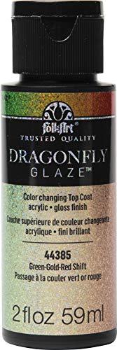 PLAID ENTERPRISES, INC. 44385 Green Red Dragonfly Glaze 2 oz FolkArt Glasur Libelle, Grün, Gold, Rot, 2oz/59ml