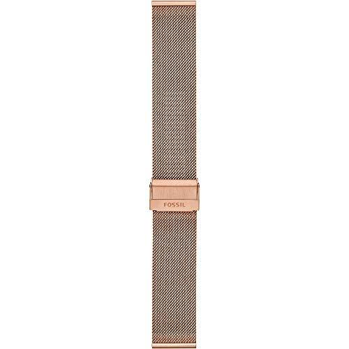 Fossil - pulsera de malla de acero inoxidable en tono oro rosa de 22 mm para mujer S221464