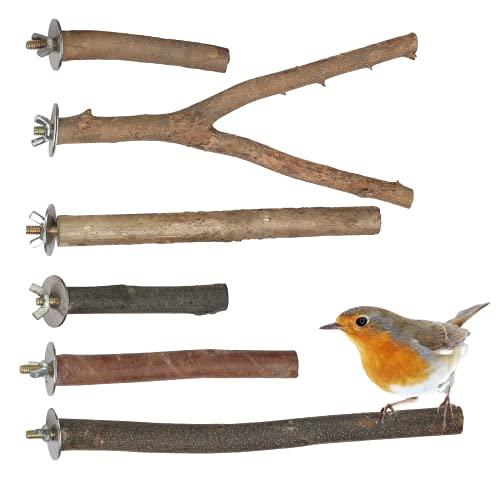 MEZOOM 6 herrliche Natur Sitzstangen für Vögel wie Wellensittich, Nymphensittich, Kanarienvogel, Agaporniden
