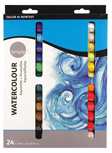 Daler Rowney- Daler Simply Watercolour Aquarelle Set 24 x 12ml Tubes