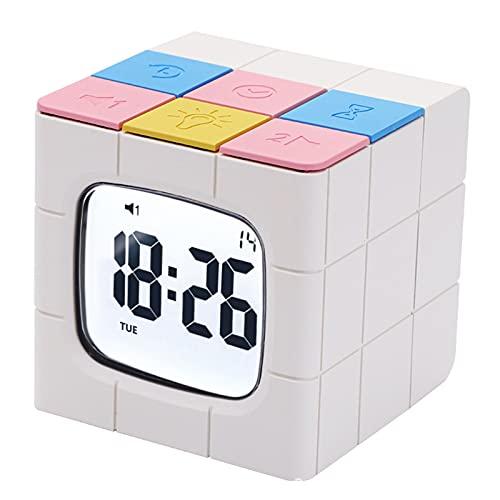 WEIHE Reloj Despertador, Reloj Despertador Cubo De Rubik, Despertador Snooze con 10 Luces En Pantalla con Temporizador Interesante, Temporizador De Cocina De Aprendizaje Silencioso Despertador,A