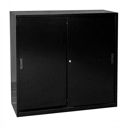Schiebetürenschrank Schiebetüren Büro Lüllmann Aktenschrank Sideboard aus Stahl schwarz 550149 kompl. montiert und verschweißt