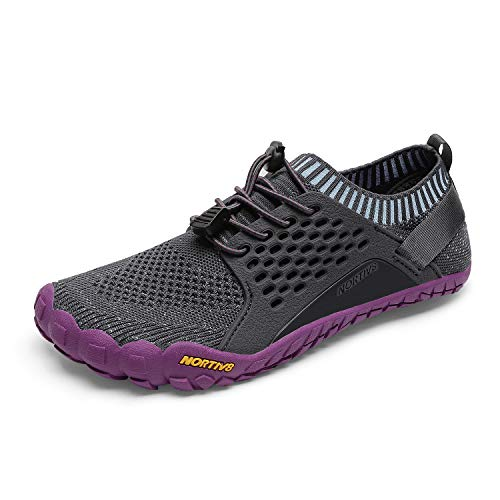 NORTIV 8 Women's Barefoot Water Sports Shoes Outdoor Athletic Pool Swim Hiking Aqua Shoes Grey Purple Size 7.5 M US Treklady-2