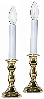 KensingtonRow Home Collection Candle Lamps - Warwick Octagonal Brass Electric Window Candlestick Lamps - Set of Two