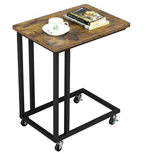 Yaheetech Tavolino caffè da Divano Laterale con Ruote Basso Industriale Vintage Salotto per Laptop Notebook Snack Moderno Nero e Marrone