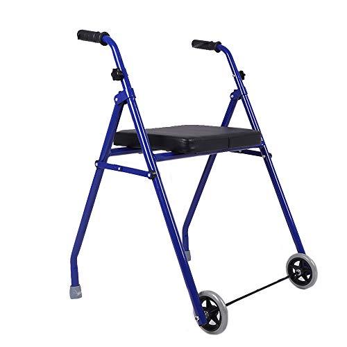Walker Andador Plegable portátil de Mano para Ancianos, Andador de Dos Ruedas de Aluminio Ligero, Antideslizante, Ajustable en Altura, Bastidor móvil asistido Adecuado para Personas discapacitadas