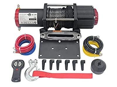 AC-DK 5500 LB ATV Winch with Synthetic Rope 12V Electric Winch Including Wireless Remote Cable Stopper Mounting Plate and Safety Gloves for Off Road Recovery