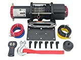 AC-DK 5500 LB ATV UTV Winch with Synthetic Rope 12V Electric Winch Including Wireless Remote Cable Stopper Mounting Plate and Safety Gloves for Off Road Recovery