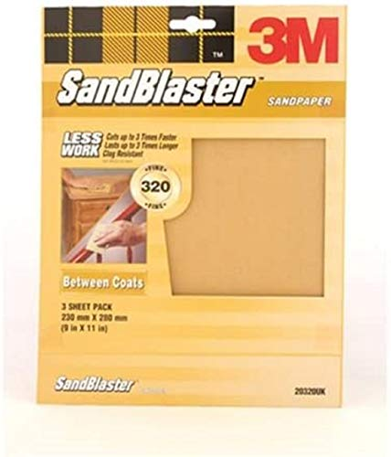 3M 20320UK Sandblaster Sandpaper Abrasive Sheets P320 Fine Grit 'Between Coats' Pack 3, Gold, Set of...
