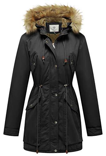 WenVen Women's Warm Winter Zip Up Slim Faux Fur Lined Drawstring Parkas(Black,M)