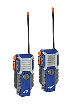 Sakar NERF Walkie Talkies for Kids Powerful 1000ft Range Speakers Rugged Design Battery Powered Outdoor Toys for Boys and Girls  Gray Blue & Orange