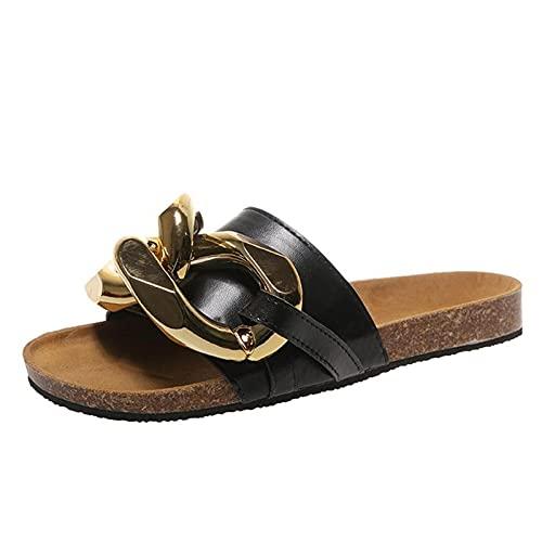 TLM Toys Sandalias de mujer de verano, elegantes flores, bohemias, sandalias de playa, sandalias planas para el tiempo libre, sandalias de cuña, cómodas