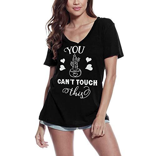 Ultrabasic Camiseta para mujer con cuello en V y texto en inglés 'You Can't Touch This - Divertida camiseta - negro - Large