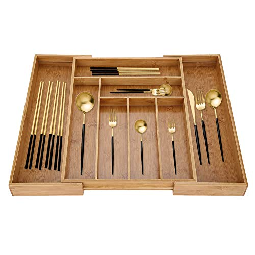 Bandeja de bambú ajustable para utensilios de cocina, organizador de cubiertos extensible de madera, 6+2 compartimentos, 100% bambú