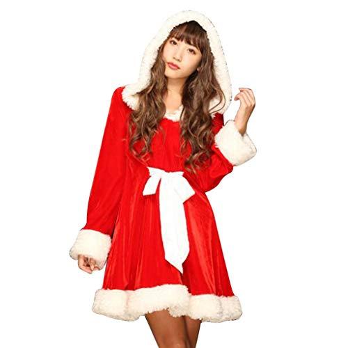 Damen Weihnachten Kleider,BBring Weihnachtsmann Cosplay Kapuzen Kostüm mit Hut Fleece Skirt mit Gürtel Cosplay Langarm Warm Herbst Sweatshirt Winter Bluse