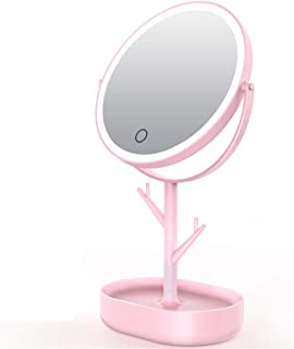 Tabletop Makeup Mirror USB Rechargeable Vanity Mirror, Touchscreen Dimmable LED Light for Countertop Cosmetic Makeup,Pink