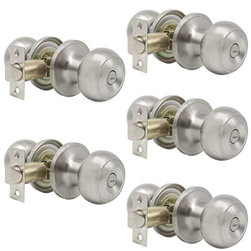 Probrico Satin Nickel Bed/Bath Knobs Keyless Privacy Interior Doors Locksets, 5 Pack