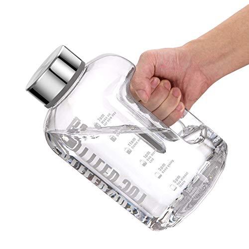 VENNERLI Sport Trinkflasche 2,5 Liter, BPA Frei Wasserflasche mit Griff Zeitmarkierung Großer Flaschenverschluss, Auslaufsicher Kohlensäure geeignet für Sport Gym Fitness Büro Heim