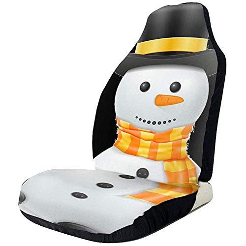 TABUE Juego completo de 2 fundas para asientos de coche, con diseño de muñeco de nieve impreso, aptas para la mayoría de los coches, camiones, SUV o furgonetas.