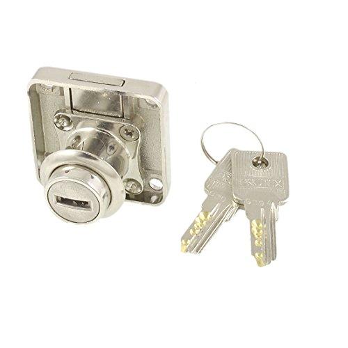 Amico Silver Tone Metal Locker Square Sleeping Drawer Lock w 2 Keys