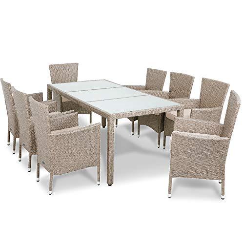 Deuba Poly Rattan Sitzgruppe 8 Stapelbare Stühle Gartentisch 7cm Auflagen Sitzgarnitur Gartenmöbel Garten Set Grau Beige